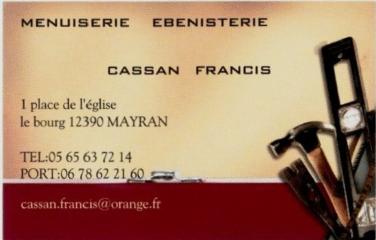 Carte de visite de CASSAN Menuiserie
